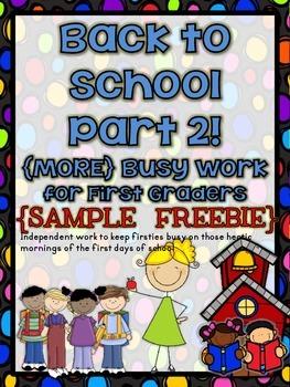 {FREEBIE} Back to School Busy Work Part 2 (SAMPLE)