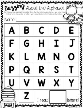 FREEBIE Back to School Buzzing About the Alphabet Printable Game