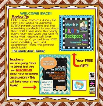FREEBIE Back to School E-Book  -  Elementary K-5