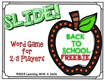 Back to School FREEBIE  No Prep Word Game: SLIDE!