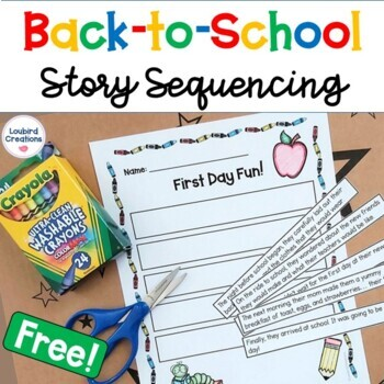 Back to School Story Sequencing Cut and Paste Activity | FREEBIE