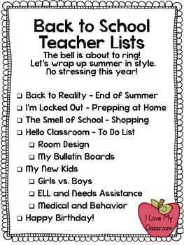FREEBIE: Back to School Teacher Lists