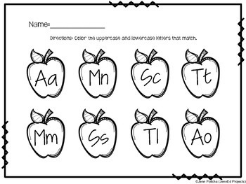 FREEBIE Back to School-Uppercase Lowercase Matching-Common Core Aligned [RF.K.1]