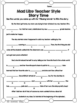 image about Mad Libs Printable Pdf identify No cost [Back again in direction of University] With Your Most loved Guides: Nuts Libs