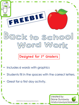 FREEBIE Back to School Word Work for 1st grade