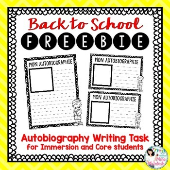 FREEBIE - Back to School Writing Activity - Mon autobiographie