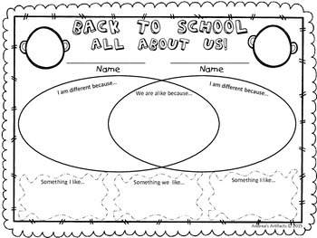 FREEBIE! Back to School - You and Me Templates
