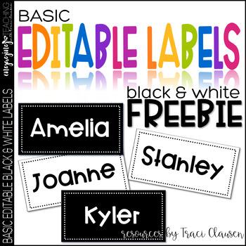 FREE Classroom Decor Labels - Basic Black and White EDITABLE