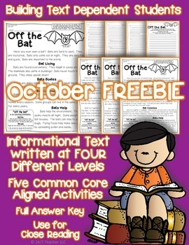 FREEBIE: Bats {Reading Passage with Common Core Text Based Questions}
