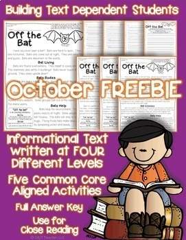 October FREEBIE: Bats {Close Reading passage with Common Core Aligned Questions}