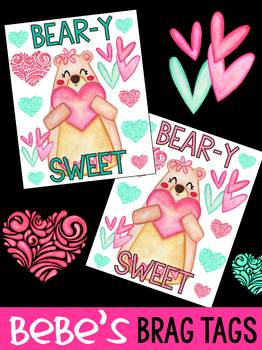 FREEBIE: Bebe's Brag Tags - Beary Sweet - Valentine's Day, Mother's Day