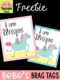 FREEBIE: Bebe's Brag Tags - Wellness Affirmations - Unicorn - I am Unique