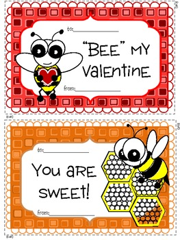 FREEBIE - Bee Themed Valentines Day Cards & Craftivity