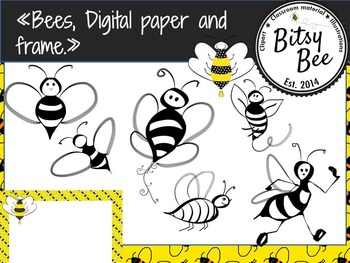 """FREEBIE """"Bees, Frame and Digital Paper."""" (Bitsy Bee Clip Art)"""