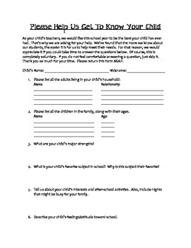 FREEBIE-Beginning of School Year- Parent Form