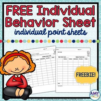 Individual Behavior Chart (point sheet) Freebie!