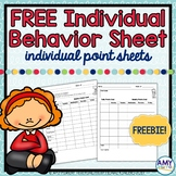 Individual Behavior Chart or Point Sheet Freebie