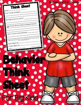 FREEBIE Behavior Think Sheet for Big Kids