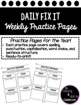 FREEBIE! Bellwork Daily Fix It Printable- Grammar, Spelling, Sentence Structure