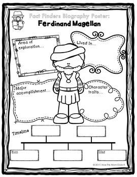 FREEBIE - Biography Research Project Poster | Explorers | Ferdinand Magellan