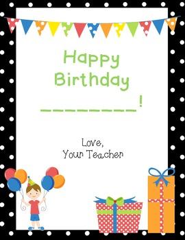 FREEBIE- Birthday Certificate for Boy