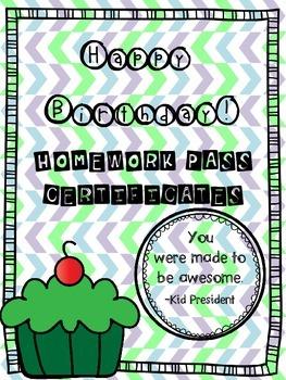 FREEBIE Birthday Homework Certificate