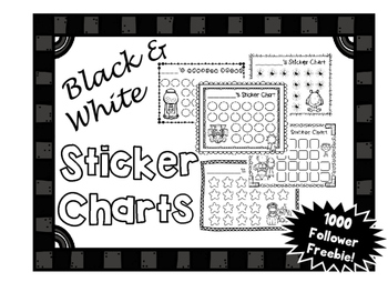 FREEBIE: Black & White Sticker / Incentive Charts - 5 Designs