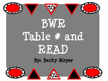 FREEBIE- Black, White, and Red Table Numbers and READ sign
