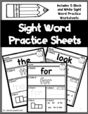 FREEBIE!! Black and White Sight Word Worksheets   Sight Wo
