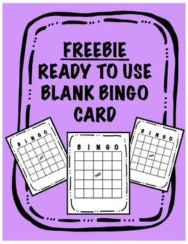 FREEBIE Blank Bingo Card
