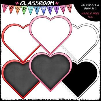 FREEBIE Blank Heart Boards Clip Art - Valentine's Day - Clip Art & B&W Set