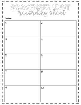 FREEBIE: Blank Scavenger Hunt Recording Sheet