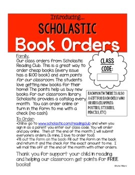 *FREEBIE* Book Order Parent Info Sheet