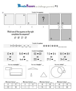 FREEBIE!  Brainteasers:  Patterns, Analogies, and What doe