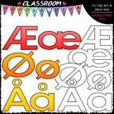 FREEBIE Bright Alphabet Norwegian Special Letters Add-On Clip Art & B&W Set