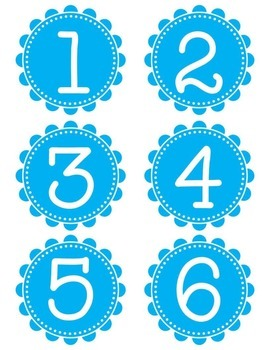 FREEBIE Bright Blue Scalloped Number Cards