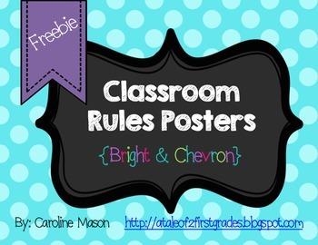 FREEBIE: Bright Chevron Classroom Rules