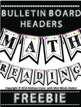 FREEBIE Bulletin Board Pendant Headers