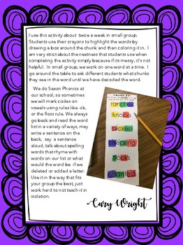 FREEBIE - CHUNK IT!  Short Vowels with Blends, Digraphs and Endings
