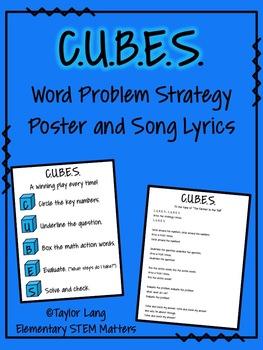 FREEBIE - C.U.B.E.S. Word Problem Strategy Poster and Song Lyrics
