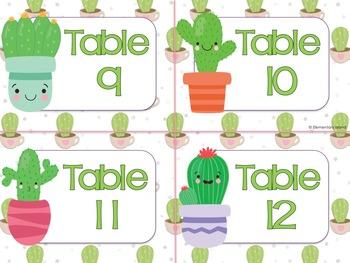 Freebie Cactus Classroom Decor Succulent Classroom Decor Table Numbers