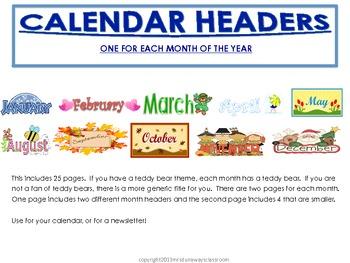 FREEBIE:  Calendar Headers