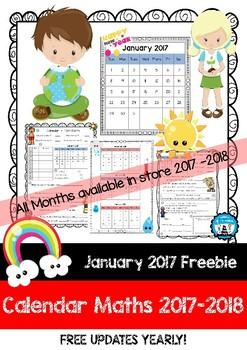FREEBIE - Calendar Maths - Tasks & Questions - January 2017