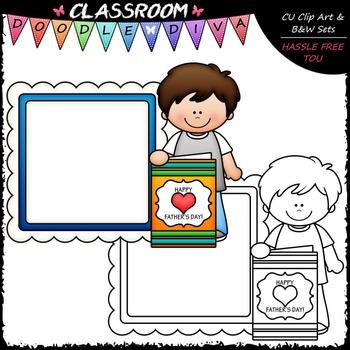 FREEBIE Calendar Message Board Kid Clip Art - Father's Day Clip Art & B&W Set