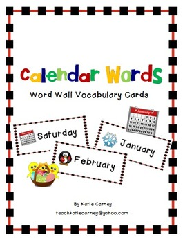 FREEBIE - Calendar Word Wall (Days of the Week/Months of t