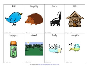 FREEBIE: Camping and Forest Vocabulary/Match cards