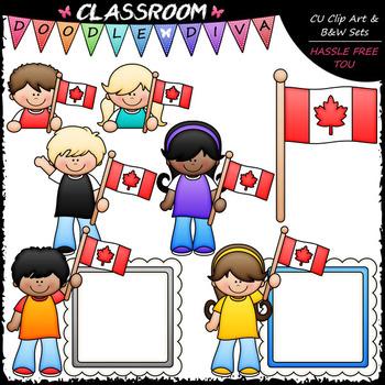 FREEBIE Canadian Flag Kids Clip Art - Clip Art & B&W Set