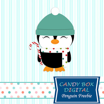 FREEBIE - Candy Cane Penguin Clip Art - Commercial and Personal Use
