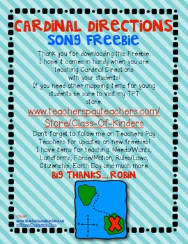 FREEBIE!!! Cardinal Directions Song {Social Studies} for Young Students