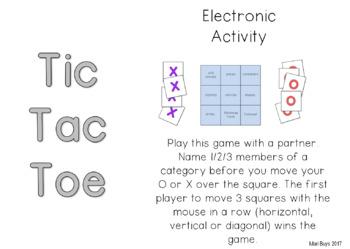 FREEBIE! Categories GRATIS Katergorieë TIC TAC TOE Electronic game